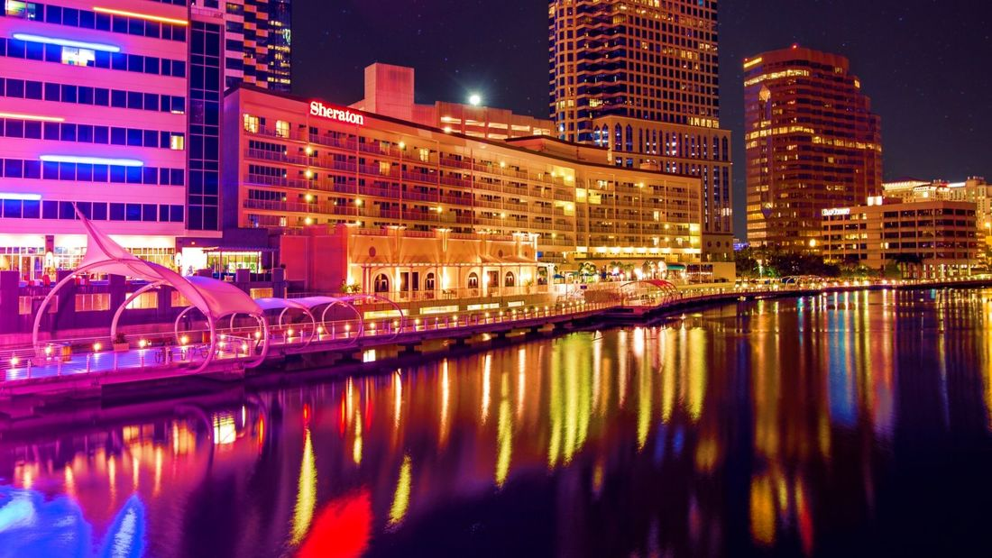 Tampa Riverwalk at night